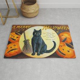 Merry Halloween Black Cat Rug