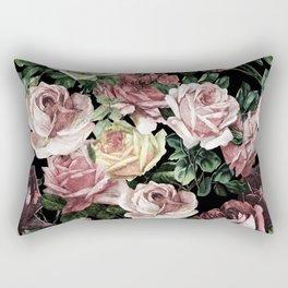 Vintage & Shabby chic - dark retro floral roses pattern Rectangular Pillow