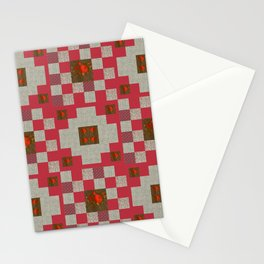 project for a quilt red and beige with floral patterns Stationery Cards