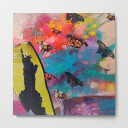 Lady Liberty Butterfly Explosion Metal Print