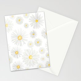 white daisy pattern watercolor Stationery Cards