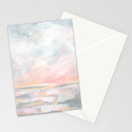 Overwhelm - Pink and Gray Pastel Seascape Stationery Cards