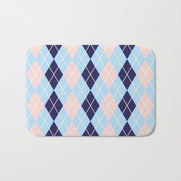 Schoolgirl Blue And Pink Argyle Bath Mat