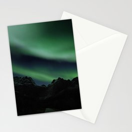 Norway Photography - Beautiful Northern Light In The Dark Stationery Cards