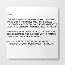Anonymous Letter To Sammi Sweetheart Jersey Shore Metal Print