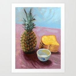 Pineapple in paint Art Print