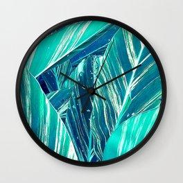 Cobalt Blue and Aqua Tropical 'Zebra Striped' Jungle Leaves Wall Clock