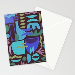 Mid Century Shapes in the Dark Stationery Cards