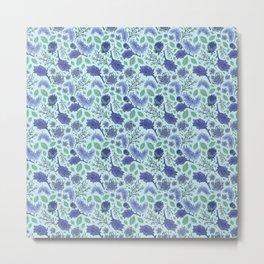 Soft Blue Australian Native Floral Print Metal Print