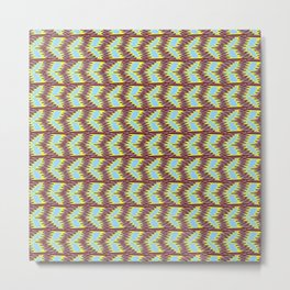 Jigsaw Drastic Dramatic Colors Warm Red Clay Sky Blue Neon Yellow Southwestern Design Pattern Metal Print