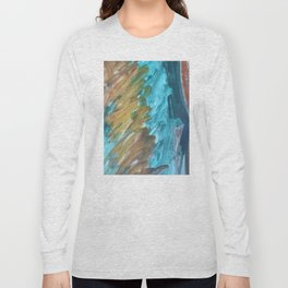 Blue and Gold Abstract Painting Long Sleeve T-shirt