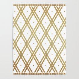 Luxury Gold Argyle - White Poster