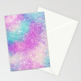 Modern girly pastel glitter sparkle nebula ultra violet turquoise pink Stationery Cards