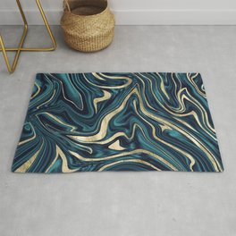 Teal Navy Blue Gold Marble #1 #decor #art #society6 Rug