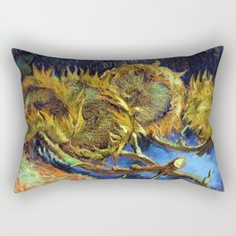 Four Cut Sunflowers - Auvers-sur-Oise Four sunflowers gone to seed by Vincent van Gogh Rectangular Pillow