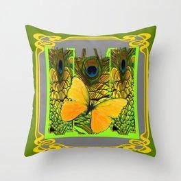 GREEN ART NOUVEAU BUTTERFLY PEACOCK PATTERNS Throw Pillow