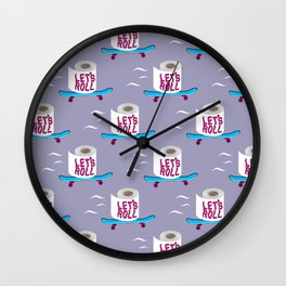 Let's Roll! Grey Wall Clock
