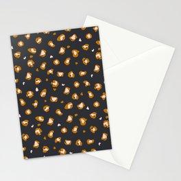 Ochre cheetah/leopard print on dark grey/black background  Stationery Cards