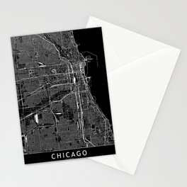 Chicago Black Map Stationery Cards