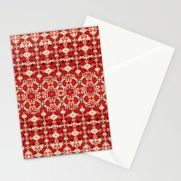 ikat geo mix patched in brigh red Stationery Cards