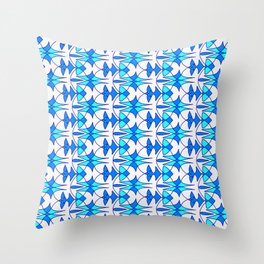 Sky Blue and Bright Cyan Indian Arrowhead Abstract on Bright Clean White Southwestern Design Pattern Throw Pillow