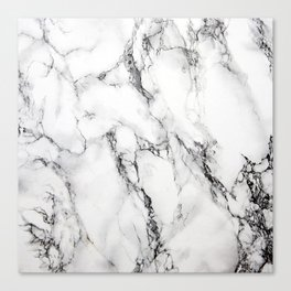 White Faux Marble Texture Canvas Print