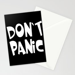 Don't Panic - White text on black background Stationery Cards