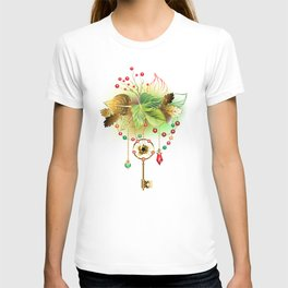 Mysterious Key with Autumn Leaves T-shirt