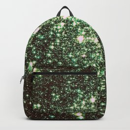 Green Gold Galaxy Sparkle Stars Backpack