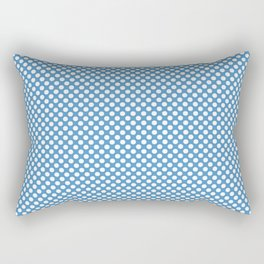 Azure Blue and White Polka Dots Rectangular Pillow
