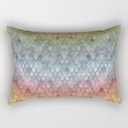 Colorful Fall Mermaid Scales Pattern silver Rectangular Pillow
