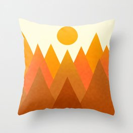 Modern Warming Abstract Geometric Mountains Landscape with Rising Sun in Hot Autumnal Ochre Colors Throw Pillow