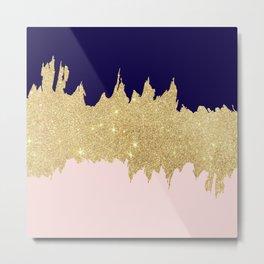 Modern navy blue blush pink gold glitter brushstrokes Metal Print
