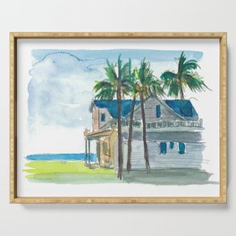 Key West Florida Conch Dream House With Ocean And Palms Serving Tray