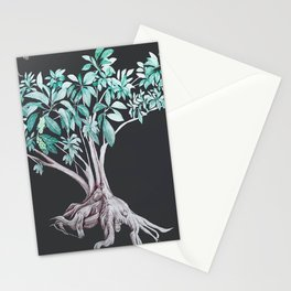 "ombu"" tree print on dark background Stationery Cards"