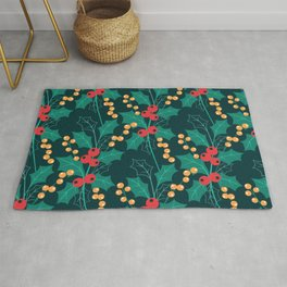 Christmas green decor Happy Holly Berry Rug