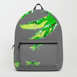 EMERALD GREEN  SWAMP DRAGONFLIES GREY ART Backpack