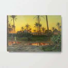 Egyptian Oasis, The Pyramids at Sunset landscape painting by Peder Mork Mønsted Metal Print