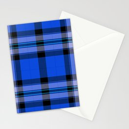 Argyle Fabric Plaid Pattern Blue and Black Stationery Cards