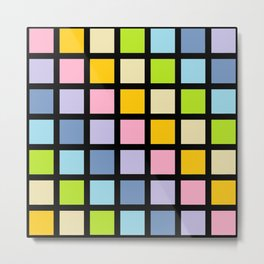 Pastel Rainbow Squares Black Metal Print