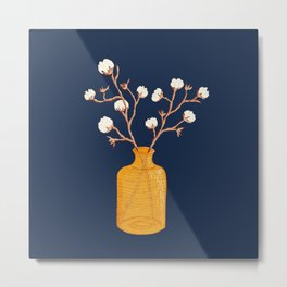 Still life - Cotton branches in a ochre vase Metal Print