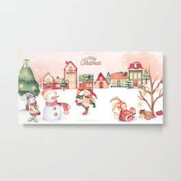 Christmas Joy Town Scene  Metal Print