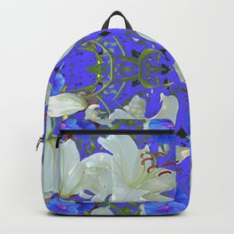 WHITE LILIES & BLUE MORNING GLORIES BLUE GARDEN ART Backpack