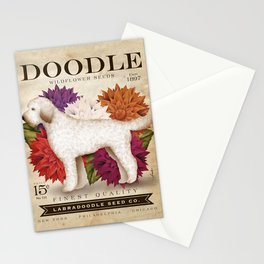 Doodle dog labradoodle seed packet flowers garden art Stationery Cards