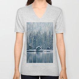 Winter's Cottage (Color) Unisex V-Neck