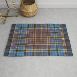 Blue and Gold Tartan Pattern Rug