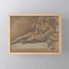 Nude Male Figure Seated on the Ground Framed Mini Art Print