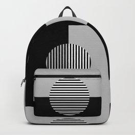 Geometric Zig Zags & Circles Pattern - Black White Gray Backpack
