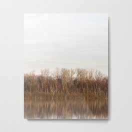 Forest fall colors reflected in lake - colorful fine art photo print shot in The Netherlands Metal Print