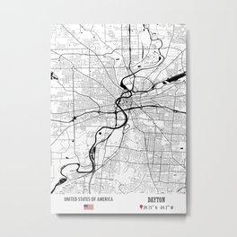 Dayton, USA Road Map Art - Earth Tones Metal Print